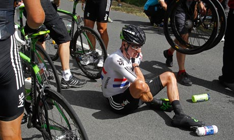 Bradley Wiggins, crashed out on stage 7