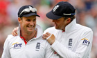 Andrew Strauss celebrates with Graeme Swann