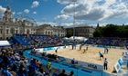 Action on the main court. The Cabinet Office is the building at the back with the scaffolding on