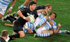 Ben Youngs goes on the attack for England against Argentina.