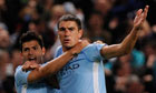 Aleksandar Kolarov, right, celebrates with Sergio Agüero after scoring against Napoli