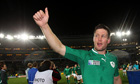 Ronan O'Gara celebrates after helping Ireland to victory over Australia in the rugby World Cup.