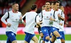 England players warm up at Wembley