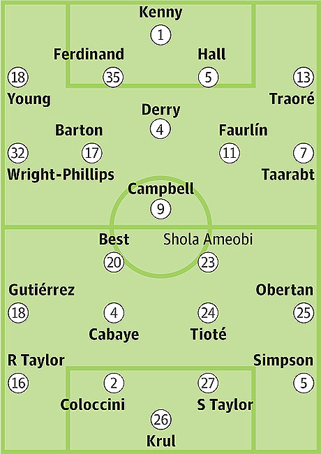 Queens Park Rangers v Newcastle United: Probable starters in bold, contenders in light.