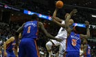 The Memphis Grizzlies forward Rudy Gay drives to the basket against the New York Knicks