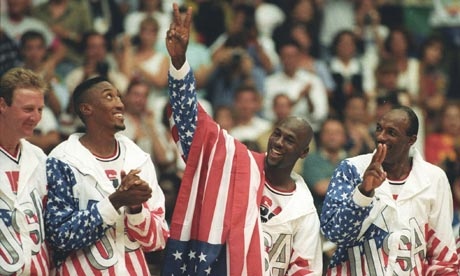 Larry Bird, Scottie Pippen, Michael Jordan and Clyde Drexler before the gold medal presentation