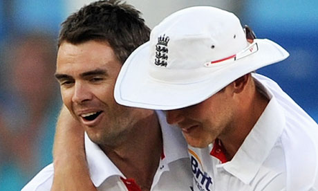 James Anderson celebrates with Stuart Broad