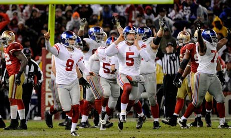 Lawrence Tynes and New York Giants celebrate beating San Francisco 49ers