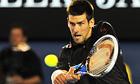 Novak Djokovic plays a shot