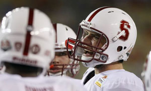 Stanford Cardinal quarterback Andrew Luck before the Fiesta Bowl