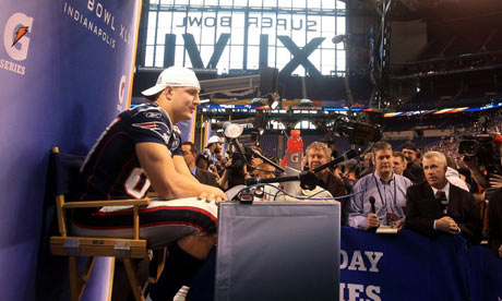 Media Day video: Rob GRONKOWSKI answers the same question over and over and over&#8230;