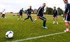 Steven Fletcher, centre, trains with the Scotland squad