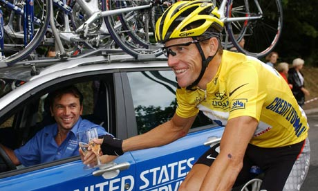 Lance Armstrong with his US Postal sporting director Johan Bruyneel during the 2003 Tour de France