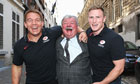 Chris Ashton, right, and John Smit, pose with Freddie Thielemans, the Mayor of Brussels