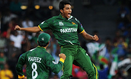Raza Hasan celebrates the wicket of Shane Watson