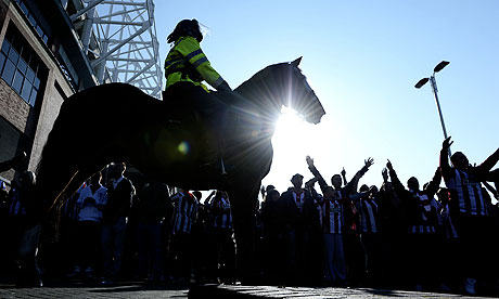 A police horse outside the Stadium of Light before Sunderland v Newcastle United