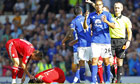Everton's Jack Rodwell looks disappointed after he is sent off against Liverpool