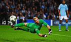 Manchester City's Joe Hart makes a save against Borussia Dortmund