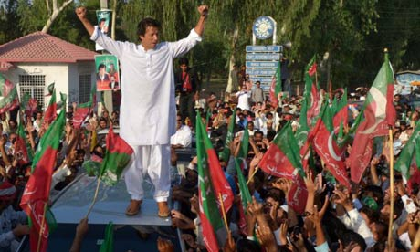 Khan stands on a vehicle during a rally in Mianwali, northern Pakistan