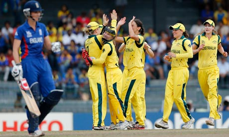 Australia celebrate the dismissal of Laura Marsh