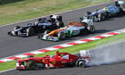 Fernando Alonso's Ferrari spins out at the F1 Japanese Grand Prix in Suzuka