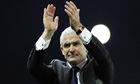 The Queens Park Rangers manager, Mark Hughes, applauds the fans