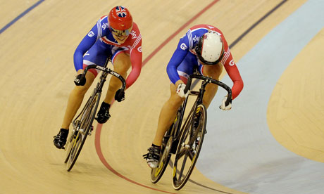 Jess Varnish (left) and Becky James in the women's sprint semi-final at UCI Track Cycling World Cup