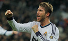 Sergio Ramos celebrates his goal against Athletic