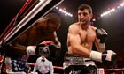 Carl Froch forces Yusaf Mack on to the ropes during their IBF world super-middleweight title fight