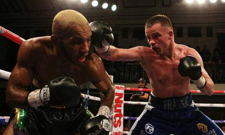 Frankie Gavin, right, lands a blow on Junior Witter at York Hall