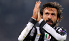 Juventus's Andrea Pirlo applauds the crowd