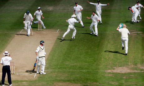 Steve Harmison claims the wicket of Michael Kasprowicz in the dramatic Edgbaston Ashes Test of 2005