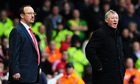 Sir Alex Ferguson, right, and Rafael Benítez share a touchline at Anfield in October 2009