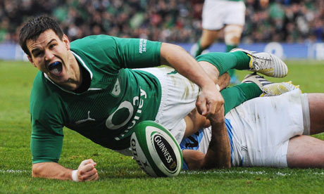 Ireland's Jonathan Sexton celebrates scoring his side's second try against Argentina