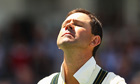 Ricky Ponting during the Australian national anthem