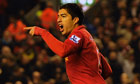 Luis Suárez of Liverpool celebrates his goal against Newcastle United at Anfield.