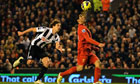 Luis Suárez on the way to scoring for Liverpool to earn his side a point against Newcastle