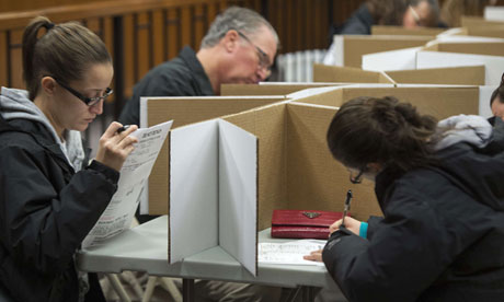 Citizens fill their ballots in a temporary polling station in Toms River, New Jersey.