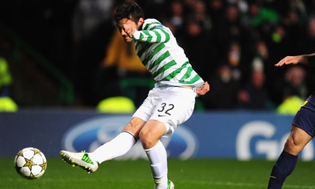 Tony Watt scores for Celtic v Barcelona in the Champions League