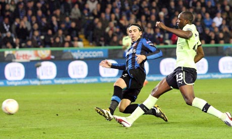 Shola Ameobi scores for Newcastle against Club Brugge