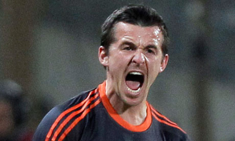 Joey Barton reacts after scoring for Marseille against Borussia Mönchengladbach