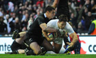 Brad Barritt scores England's first try in their 38-21 rout of New Zealand at Twickenham