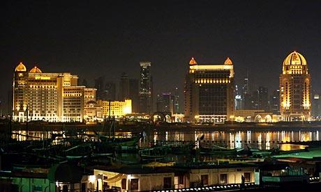 A view of Doha at night