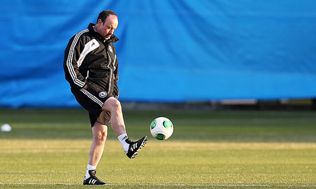 Rafael Benítez during a Chelsea training session ahead of Sunday's Club World Cup Final