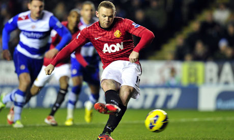 Wayne Rooney scores for Manchester United against Reading from a penalty