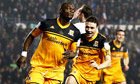 Hull's Abdoulaye Faye celebrates his goal against Derby County