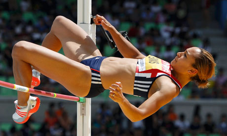 Jessica Ennis in high jump action