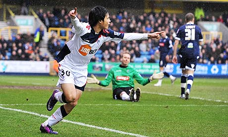 Bolton Wanderers' Ryo Miyaichi celebrates scoring his team's opening goal against Millwall