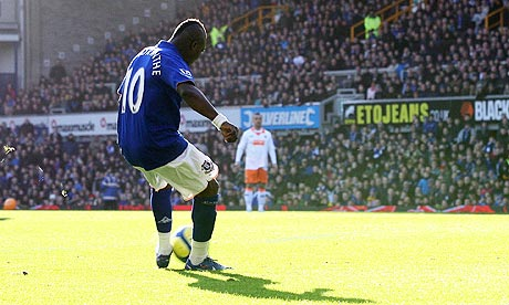 Royston Drenthe scores Everton's first goal in the FA Cup Fifth Round match against Blackpool