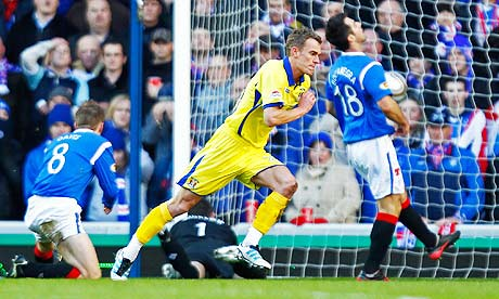 Kilmarnock's Dean Shiels celebrates scoring the winning goal against Rangers